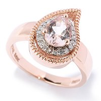 14K RG TEARDROP SHAPE SETTING WITH MORGANITE AND DIAMOND RING