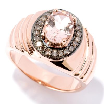 127-429 - Gem Treasures 14K Rose Gold 1.20ctw Oval Pink Morganite & Diamond Ring