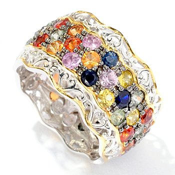 127-432 - Gems en Vogue II 4.32ctw Multi Sapphire Eternity Band Ring