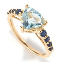 14K YG TRILLION AQUA WITH BLUE SAPP ACCENT RING