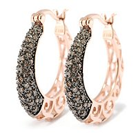 14K RG MOCHA DIAMOND HOOP EARRINGS