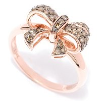14K RG MOCHA DIAMOND BOW RING
