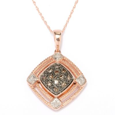127-451 - Diamond Treasures 14K Rose Gold 0.20ctw Mocha & White Diamond Pendant w/ Chain
