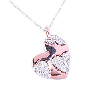 "127-457 - Sonia Bitton for Brilliante® Two-tone Pave Heart Pendant w/ 18"" Chain"