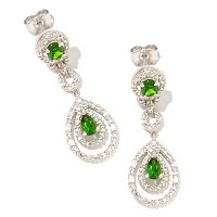 SS/P EAR CHROME DIOPSIDE & WHT ZIRCON DOUBLE DROP