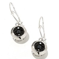 SS FRENCH WIRE LEVERBACK EARRING BLK SPINEL FLOWER SETTING