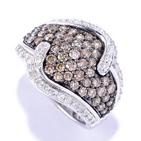SS BROWN PAVE WITH WHITE ACCENTS DIAMOND RING