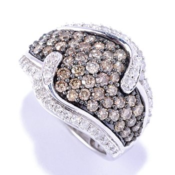 127-465 - Diamond Treasures Sterling Silver 2.01ctw Champagne & White Diamond Wave Ring