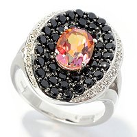 SS CONCAVE PAVE BLACK SPINEL WITH SUNSET TREATED TOPAZ CENTER RING