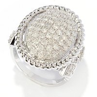 SS OVAL PAVE DIAMOND RING