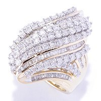 14K YG ROUND AND BAG DIAMOND RING