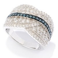 SS BLUE AND WHITE DIAMOND RING