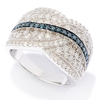 127-474 - Diamond Treasures Sterling Silver 1.51ctw Blue & White Diamond Ring