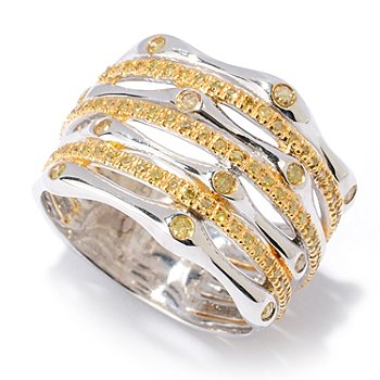 127-477 - Diamond Treasures Sterling Silver 0.47ctw Yellow Diamond Seven Band Ring