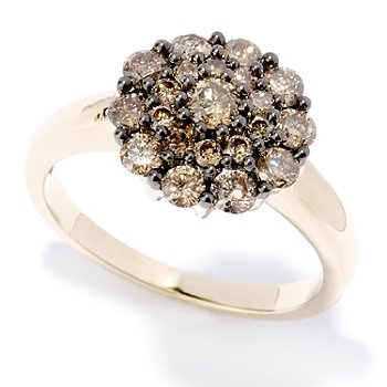 127-478 - Diamond Treasures 14K Gold 1.00ctw Mocha Diamond Flower Cluster Ring