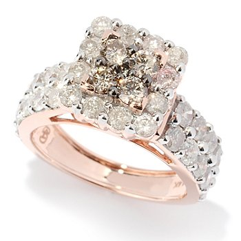 127-481 - Diamond Treasures 14K Rose Gold 2.77ctw White & Champagne Diamond Square Ring