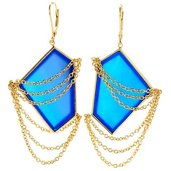 127-483 - Kristen Amato 33 x 22mm Fancy Cut Gemstone & Chain Earrings