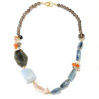 KA - SS/18KGP NECK FANCY-CUT MOONSTONE, LABRADORITE & MULTI GEM - 24""