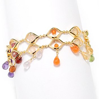 127-486 - Kristen Amato 8'' Multi Gemstone ''The Fiesta'' Bracelet w/ Triple Toggle Clasp