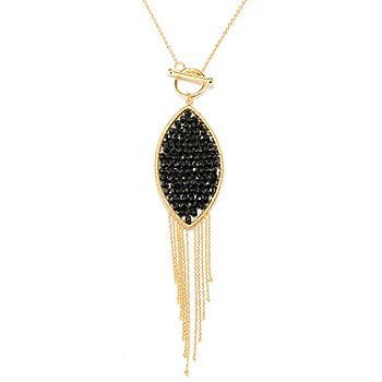 127-487 - Kristen Amato 24'' 15.00ctw Black Spinel ''Linley'' Toggle Necklace