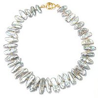 KA - SS/18KGP NECK FANCY SHAPE BIWA CULTURED PEARL