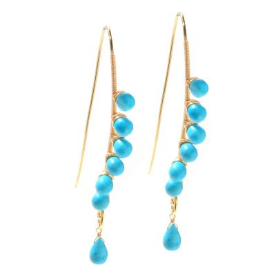 "127-493 - Kristen Amato Turquoise Bead ""Sea Breeze"" Elongated Curve Drop Earrings"