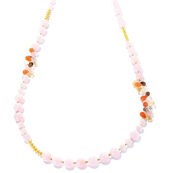 127-497 - Gems of Distinction 42'' Morganite & Multi Gemstone Briolette Station Necklace