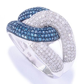 127-503 - Diamond Treasures Sterling Silver 0.92ctw Blue & White Diamond Interlocking Ring