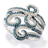 SS BLUE & WHITE DIAMOND SWIRL DESIGN RING