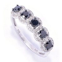 SS 5 STONE BLACK DIAMOND RING W/ WHITE DIAMOND ACENTS