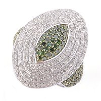 SS MARQUISE SHAPED GREEN & WHITE DIAMOND RING