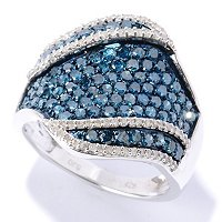 SS BLUE DIAMOND WIDE BAND RING W/ WHITE DIAMOND ACCENTS