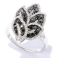 SS BLACK DIAMOND LEAF RING W/ WHITE DIAMOND ACCENTS