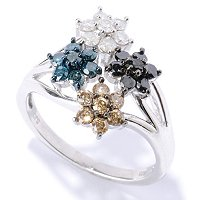 SS MULTI-COLOR DIAMOND FLOWER CLUSTER RING