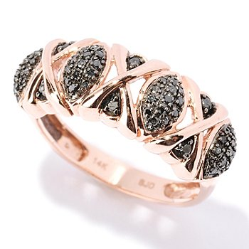 127-521 - Diamond Treasures 14K Rose Gold 0.21ctw Black Diamond Marquise Ring