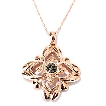 127-523 - Diamond Treasures 14K Rose Gold 0.05ctw Black Diamond Floral Pendant w/ Chain