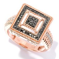 14K RG BLACK DIAMOND PRINCESS CUT RING W/ WHITE DIAMOND ACCENTS