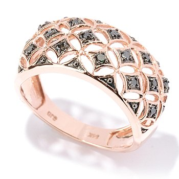 127-526 - Diamond Treasures 14K Rose Gold 0.17ctw Black Diamond Wide Band Ring
