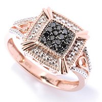 14K RG SQUARE BLACK DIAMOND RING