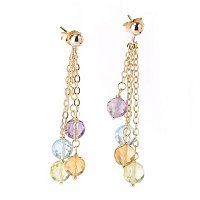 18K 4-STRAND DANGLE EARRINGS W/FACETED MULTI GEMSTONE BEADS