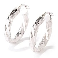 18K DISCO TWISTED ROUND HOOP EARRINGS