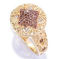 14K YG MOCHA DIAMOND RING W/ WHITE DIAMONDS