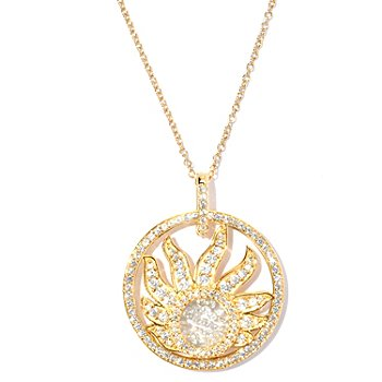 127-566 - Sonia Bitton for Brilliante® Gold Embraced™ 2.58 DEW Floating Stone Sun Pendant