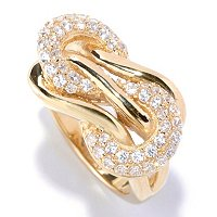 SB SS/CHOICE ROUND CUT POLISHED PAVE KNOT RING