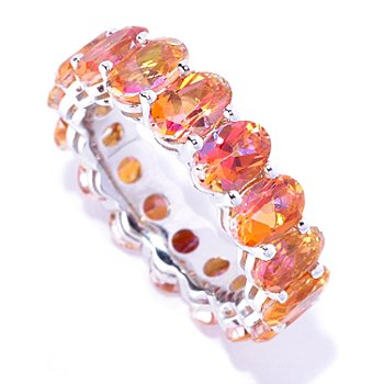 127-575 - Gem Treasures Sterling Silver Oval Topaz Eternity Band Ring