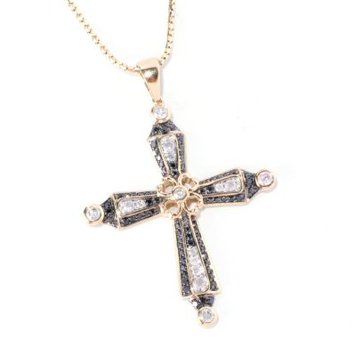 127-588 - Beverly Hills Elegance 14K Gold 1.00ctw Black & White Diamond Cross Pendant