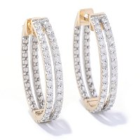14K YG 2 ROW DIAMOND EARRING