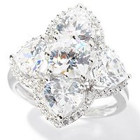 BLTA SS/PLAT HEART AND CUSHION CUT FLOWER RING