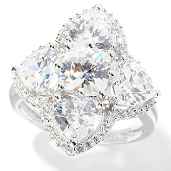 127-599 - Brilliante® Platinum Embraced™ 9.18 DEW Heart & Cushion Cut Simulated Diamond Ring