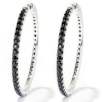 BLTA SS/PLAT ROUND CUT SIMULATED BLACK DIA HOOP EARRINGS